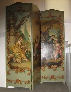 Antique French Toile Romantic 3 Panel Canvas Screen