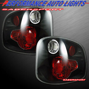 Set Of Pair Black Taillights For 2001 2003 Ford F 150 Supercrew Flareside Bed