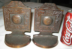 Antique Bronze Wings Astrology Zodiac Desk Art Statue Sculpture Globe Bookends