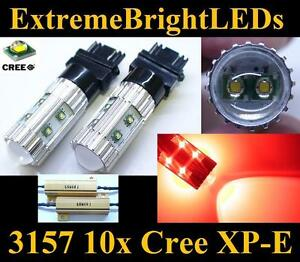 Two Red 50w 3156 3157 10x Cree Xp e Turn Signal Lights 2 Load Resistors