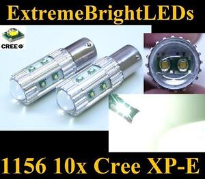 Two Xenon Hid White 50w High Power 10x Cree Xp e 1156 7506 Led Backup Lights