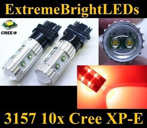 Two Brilliant Red 50w 3156 3157 10x Cree Xp e Turn Signal Tail Brake Stop Lights