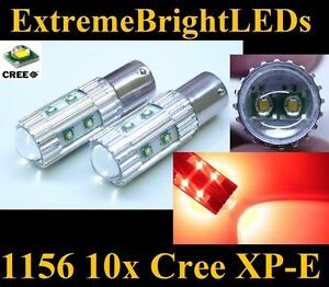 Two Brilliant Red 50w 10x Cree Xp e 1156 7506 Led Turn Signal Brake Stop Lights