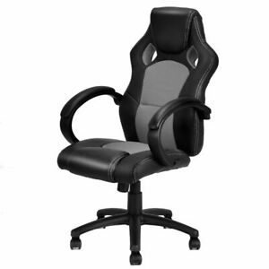 High Back Race Car Style Bucket Seat Office Desk Chair Gaming Chair Gray New