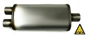 Universal Oval Stainless Steel Exhaust Muffler 3 Inlet To 2 5 Dual Outlet