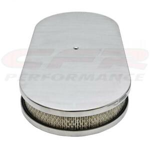 Aluminum 19 Oval Dual Quad Air Cleaner Paper Filter Smooth Polished