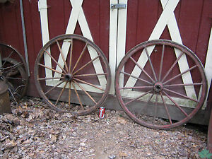 2 Antique Country American Wood Cast Iron Wagon Carriage Buggy Garden Art Wheel