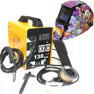 Mig 130 Flux Core Auto Wire Welder Machine W cooling Us Eagle Welding Helmet