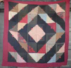Antique Victorian Log Cabin Beautiful Quilt 1860 1880 S Cotton Wool Silk Paisley