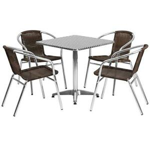 27 5 Square Aluminum Indoor outdoor Table With 4 Rattan Chairs