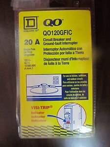 Square D Qo120gfic 20a 120v 1pole Visi trip Indicator Ground Fault Interrupter