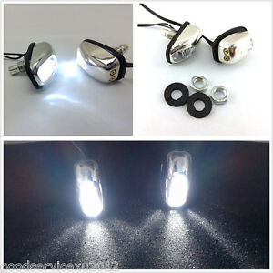 2 Pcs 12v Vehicle Hood Windshield Washer Nozzle With White Led Lights For Honda
