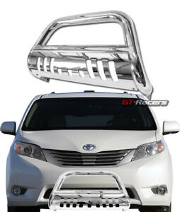 For 2011 2019 Toyota Sienna Chrome Bull Bar Brush Push Bumper Grill Grille Guard