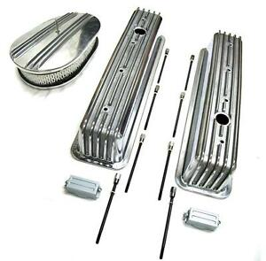 Chevy Polished Aluminum Tall Finned Valve Covers 12 Air Cleaner Kit Sbc 350
