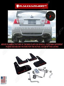 Rally Armor Black Mud Flaps W Red Logo For 2011 2014 Subaru Wrx Sti Sedan