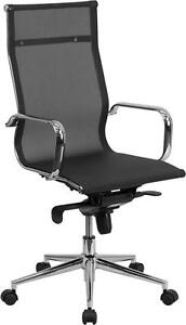 Lot Of 10 High Back Black Mesh Executive Swivel Conference Table Chair