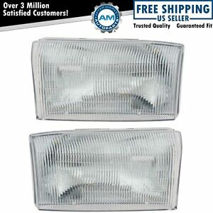 Headlights Headlamps Left Right Pair Set New For Ford Super Duty Pickup Truck