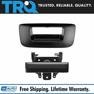 Tailgate Handle Bezel Kit Smooth Black For 07 13 Chevy Gmc