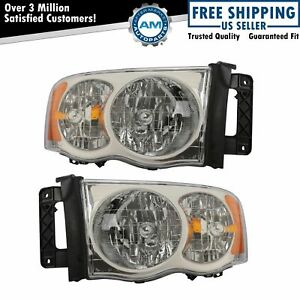 Headlights Headlamps Left Right Pair Set New For Dodge Ram Pickup Truck