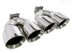 Pair Of Two Stainless Steel Universal Dual Exhaust Tips 3 5
