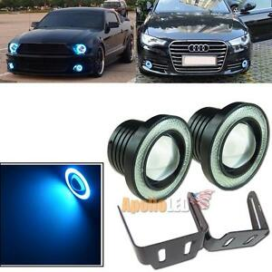 2pcs Universal Fit 3 5 Projector Led Fog Light Ice Blue Cob Angel Eye Halo Ring