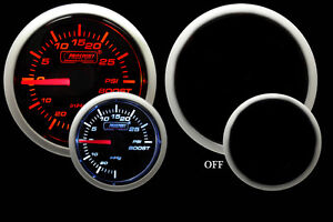 Mechanical Boost Gauge amber And White 52mm 2 1 16 30vac To 30 Psi Range