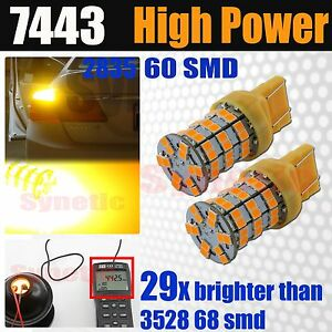 2x 7443 7444 High Power Led Amber Yellow Front Turn Signal Parking Light Bulbs