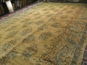 Semi Antique Hand Knotted Wool Persian Lavar Kerman Rug 10 3 X19 9 Ivory Allover
