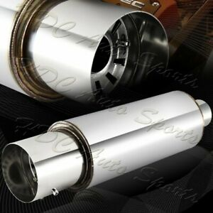 Jdm 4 N1 Tip T304 Stainless Steel Exhaust Resonator Canister Muffler 2 5 Inlet