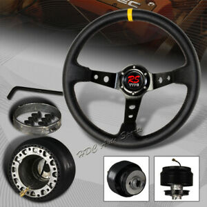 350mm Black Yellow Leather Deep Dish 6 Hole Steering Wheel For Nissan Hub