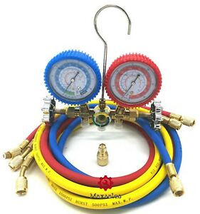R134a R12 R22 Manifold Gauge Set Hvac Ac Refrigeration Test W 5ft Charging Hoses