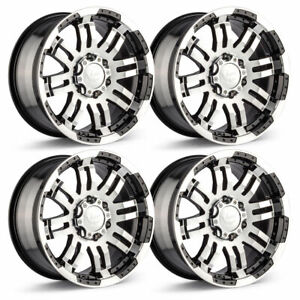 Set 4 16 Vision 375 Warrior Black Machined Rims 16x8 6x5 5 0mm Chevy Gmc 6 Lug