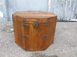 Antique Japanese Octagon Tansu Chest With Handles And Lock