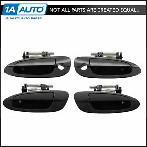 Door Handles Outside Smooth Black Front Rear Kit Set Of 4 For 02 06 Altima