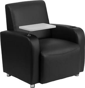 Black Leather Guest Chair With Tablet Arm Chrome Legs And Cup Holder