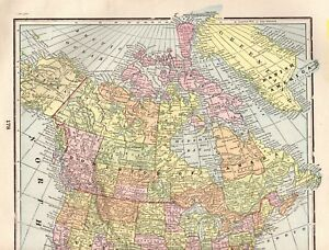1900 Antique North America Map Travel Gallery Wall Art Vintage Map 1882