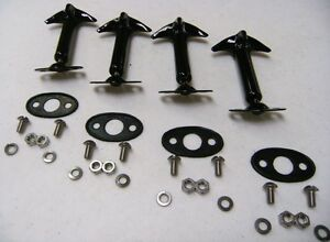 1932 Ford Car Pickup Truck Hood Latch 4 Pieces Black Pads And Screw Kit Deuce