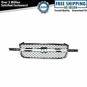Honeycomb Grille Chrome Gray For Chevy Silverado Pickup Truck New