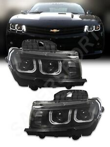 Black Dual Projector Halogen Ver Headlights W U Halo For 2014 2015 Camaro