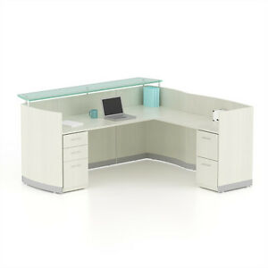 Reversible Sea Salt Laminate L Shape Reception Desk Textured Glass Counter
