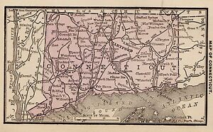 1886 Antique Connecticut Map Rare Miniature Vintage Map Of Connecticut 1914