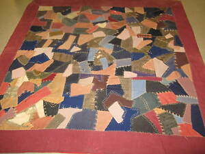 Antique American Crazy Quilt Wool On Cotton 84 X 84