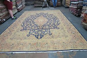 Semi Antique Signed Lavar Kerman Persian Rug Hand Knotted Wool 10 X 14 3