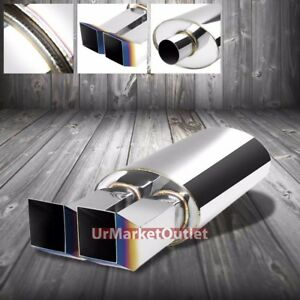 Ss 2 50 Inlet 2 3 8 Dual Burnt Bent Tip Stainless T304 Oval Exhaust Muffler