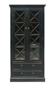 China Black Wood Glass Door Large Storage Cabinet Showcase Bookcase Mh287