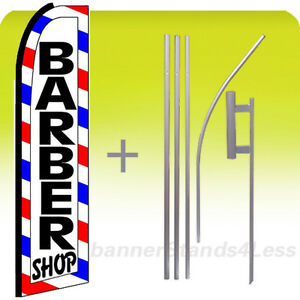 Barber Shop Swooper Flag 15 Kit Feather Banner Sign white Boxed Bq