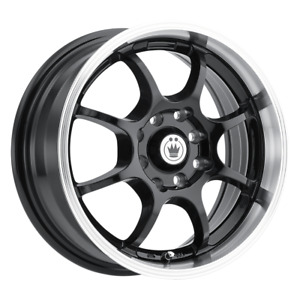 Set 4 14x6 38 4x100 114 3 Konig Lightning Black Wheels Rims 14 Inch 64528