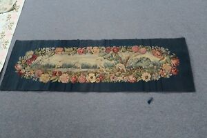 Antique French Aubusson Tapestry 19 X 60 Handmade Silk Wool Floral Cranes