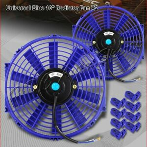 2 X 10 Blue Electric Slim Push Pull Engine Bay Cooling Radiator Fan Universal 2