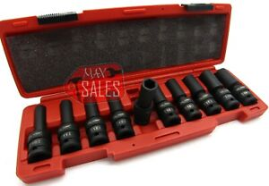 10pc 1 2 Drive Universal Swivel Deep Impact Socket Set metric Pro Radius Set